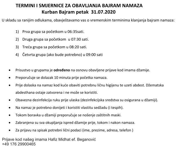 Termini i smjernice za obavljanje Kurban Bajram namaza 31-07-2020