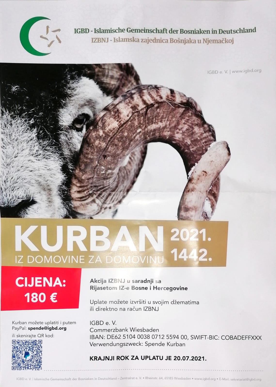 Obavijestenje o uplatama za Kurban 2021